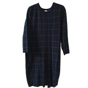 NWT  Anne Klein Black w/Blue Long Sleeve Dress L